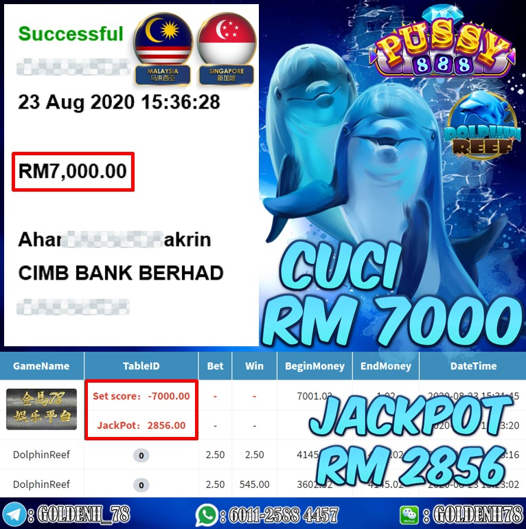 PUSSY888 FT. DOLPHINE REEF KENA JACKPOT CUCI RM7000