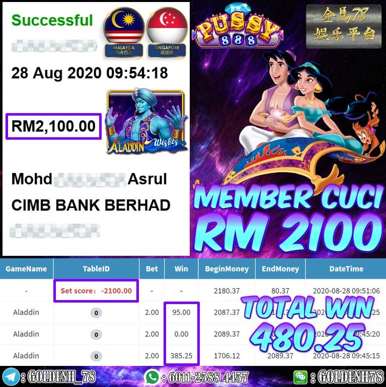 PUSSY888 FT. ALADDIN KENA BIGWIN  MEMBER CUCI RM2100