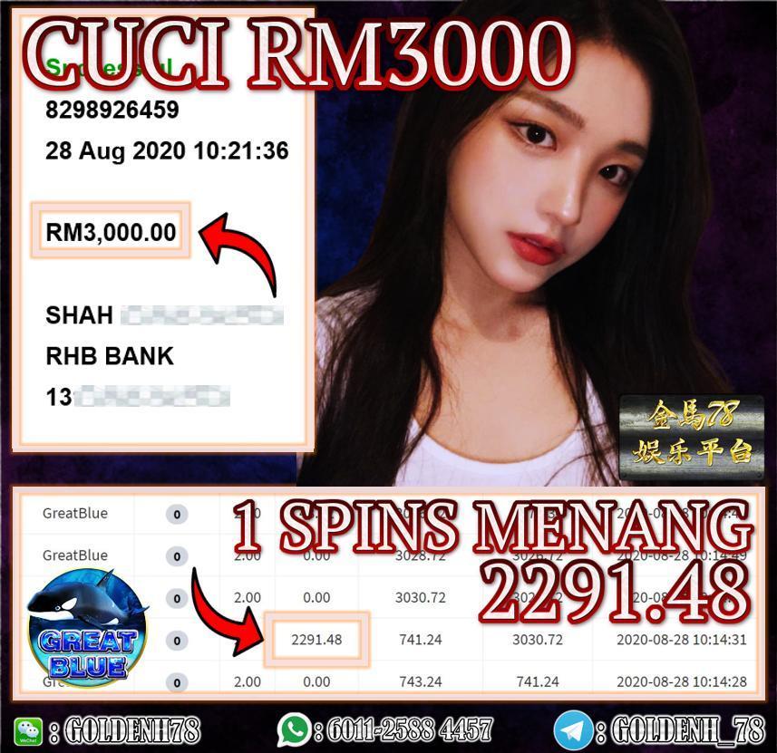 MEGA888 FT. GREAT BLUE SUPER BIGWIN CUCI RM3000