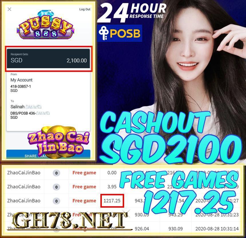 PUSSY888 FT. ZHAO CAI JIN BAO WIN FREE GAME CASHOUT SDG2100