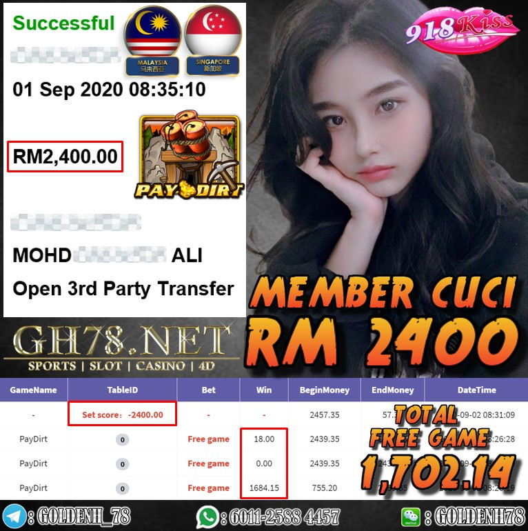 918KISS FT. PAYDIRT KENA FREE GAME CUCI RM2400