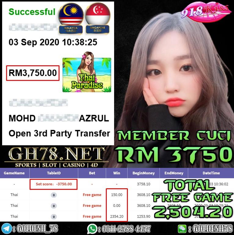 918KISS MEMBER MAIN THAI KENA FREE GAME CUCI RM3750