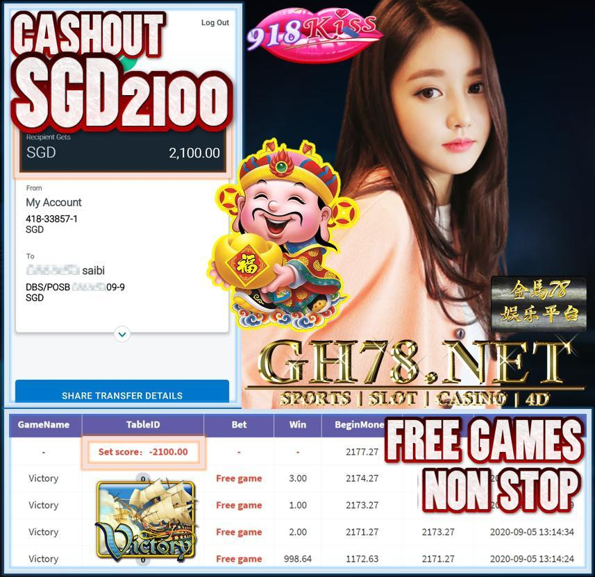 MEMBER PLAY VICTORY CASHOUT SGD2100