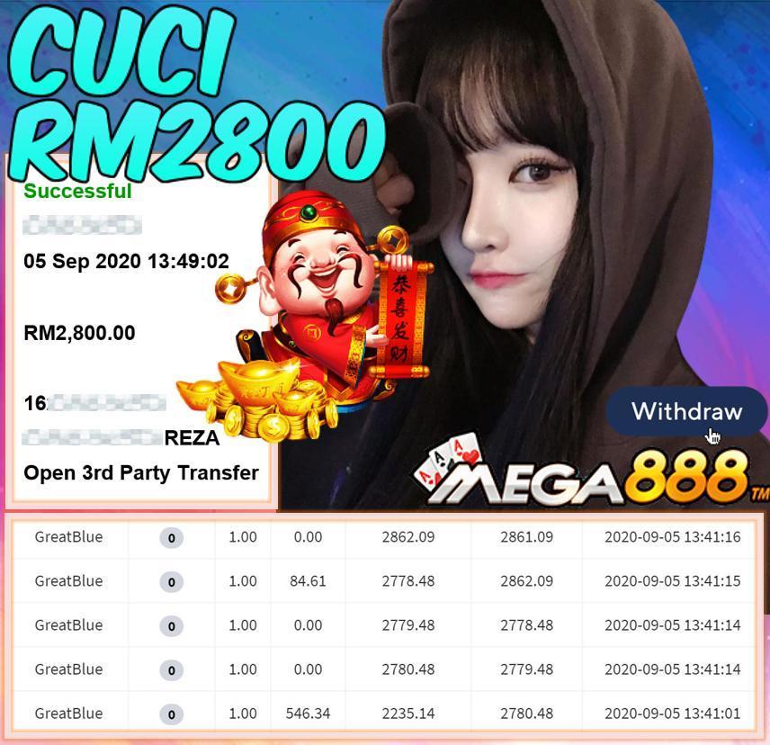 MEMBER MAIN MEGA888 GREATBLUE CUCI RM2800