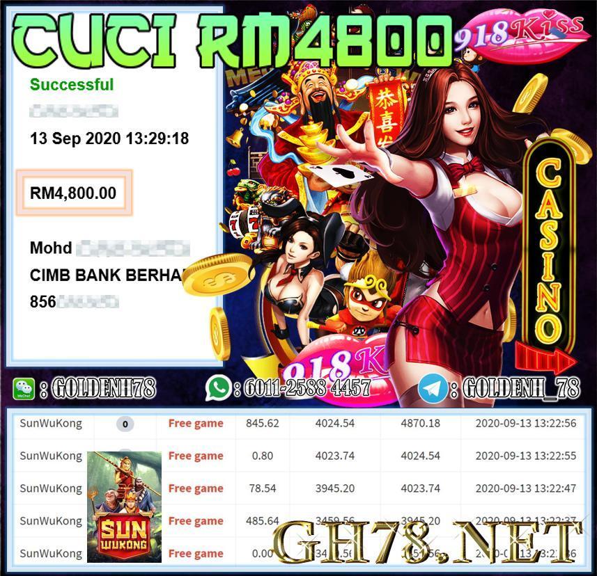MEMBER MAIN 918KISS SUNWUKONG CUCI RM4800 !!