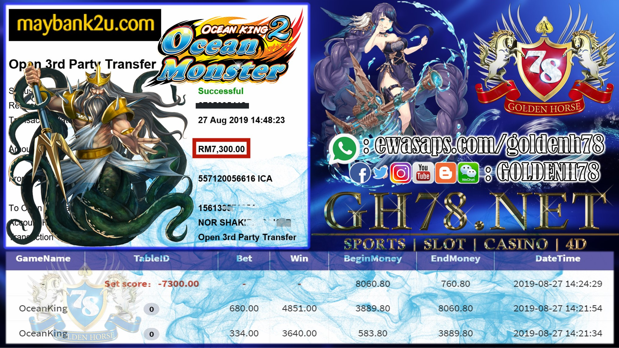 MEMBER MAIN GAME 918KISS FT.OCEANKING MINTA OUT RM7,300