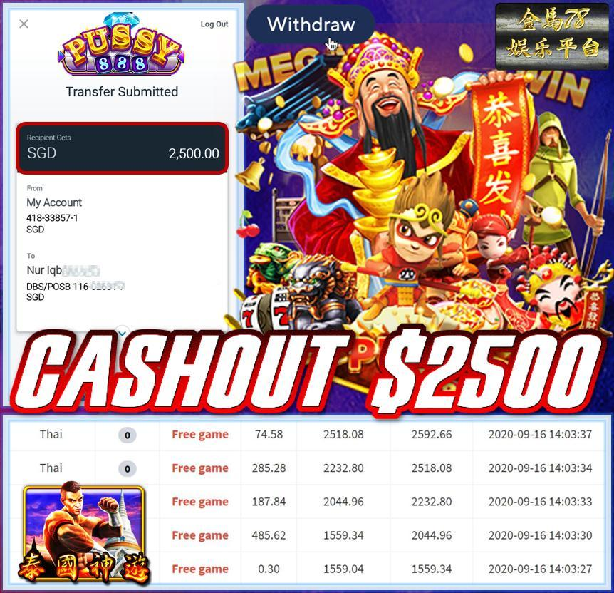 MEMBER PLAY PUSSY888 CASHOUT $2500