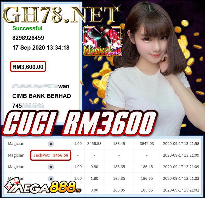 MEMBER MAIN MEGA888 CUCI RM3600
