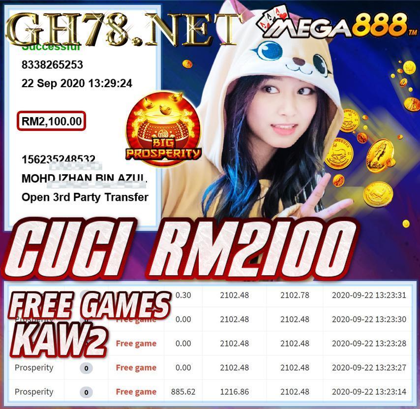 MEMBER MAIN MEGA888 CUCI RM2100