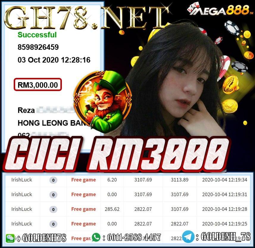 MEMBER MAIN MEGA888 IRISH LUCK CUCI RM3000
