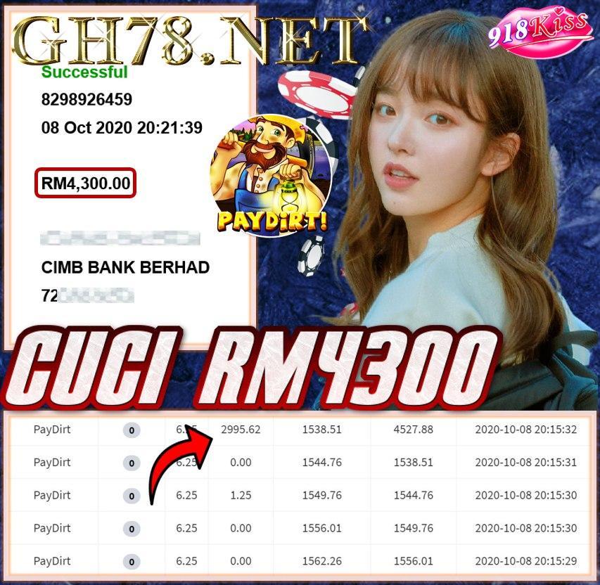 MEMBER MAIN 918KISS CUCI RM4300
