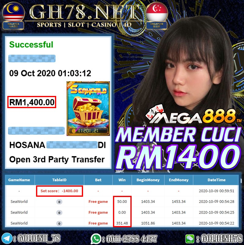 MEMBER MAIN MEGA888 CUCI RM1400