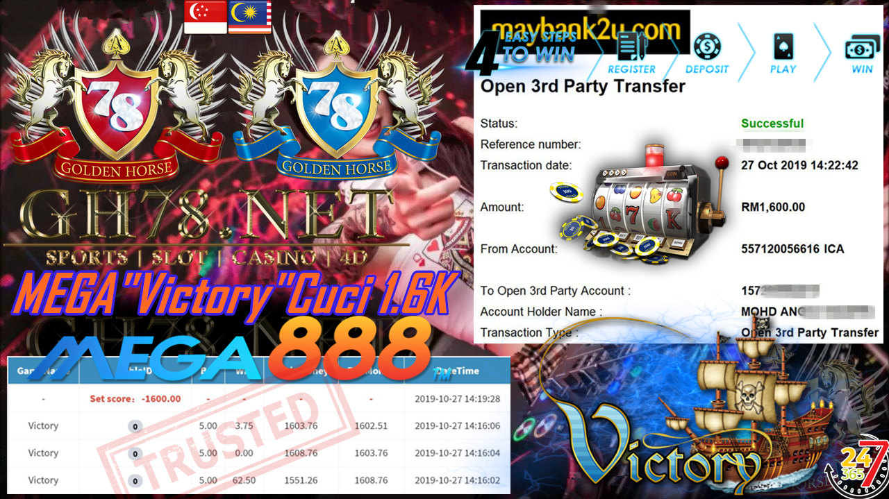 MEGA888 FT.VICTORY CASHOUT RM1600