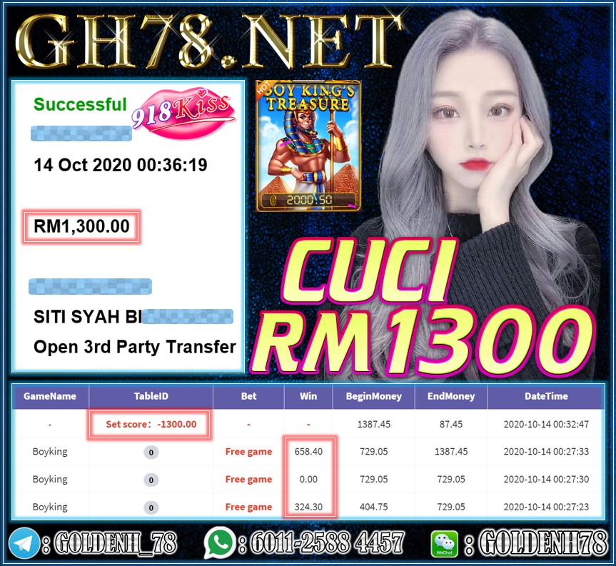 MEMBER MAIN 918KISS CUCI RM1300