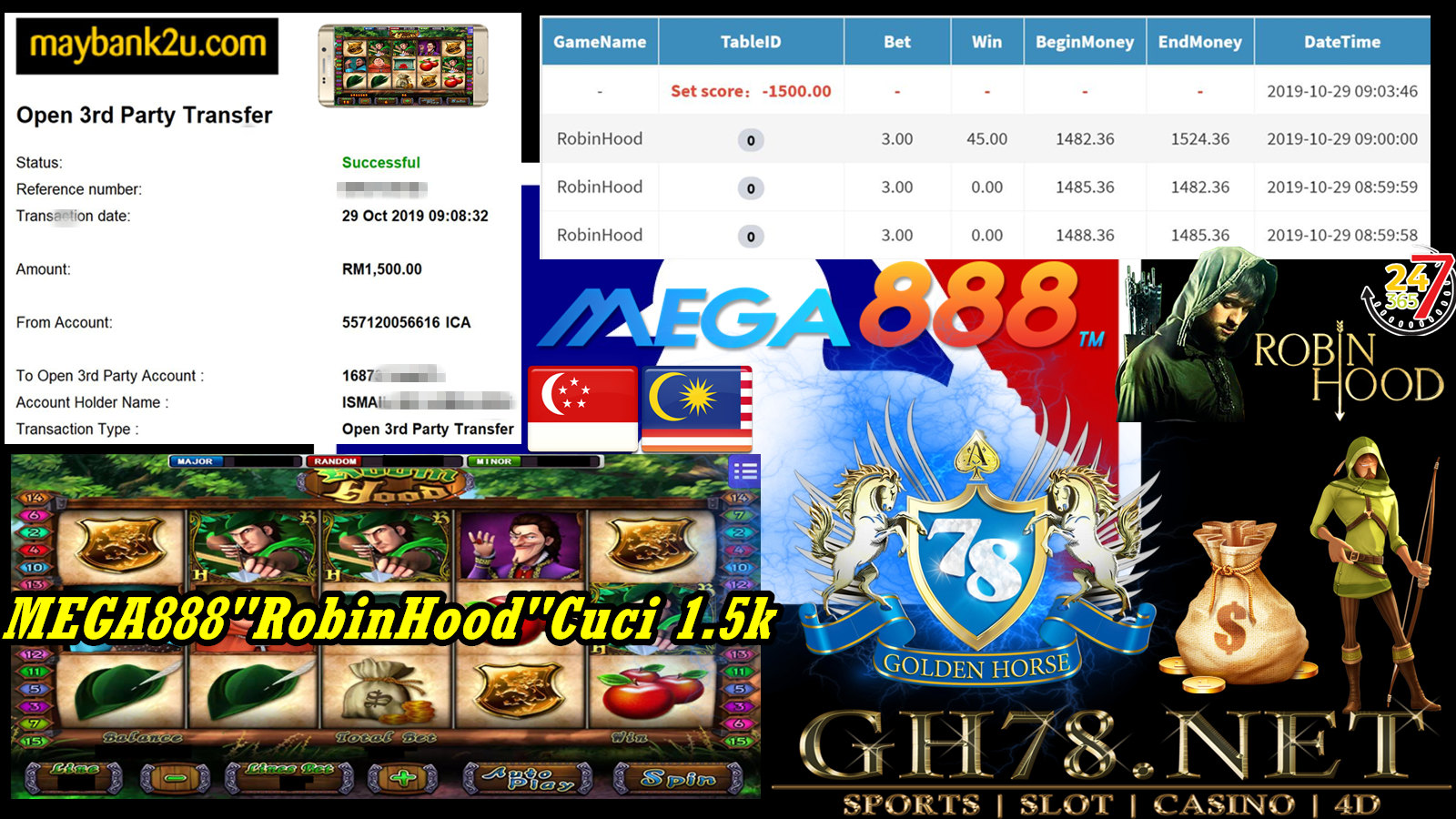 MEGA888 FT.ROBINHOOD WITHDRAW RM1500 !!