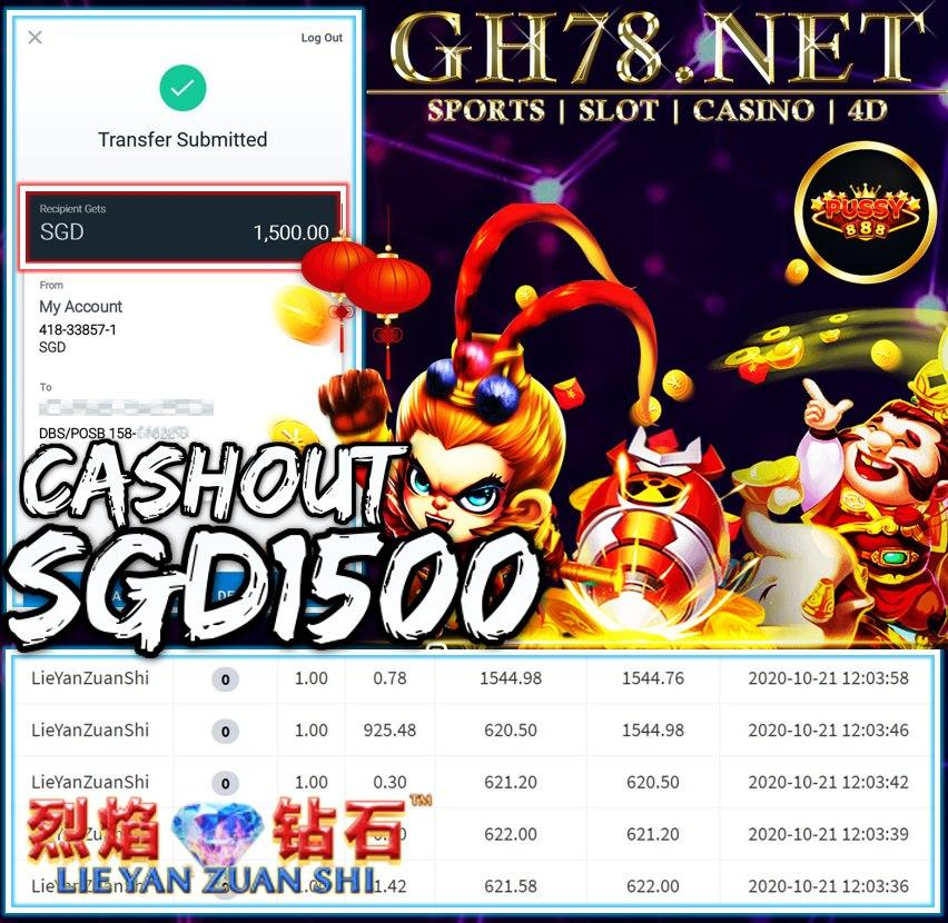 MEMBER PLAY PUSSY888 CASHOUT SGD1500