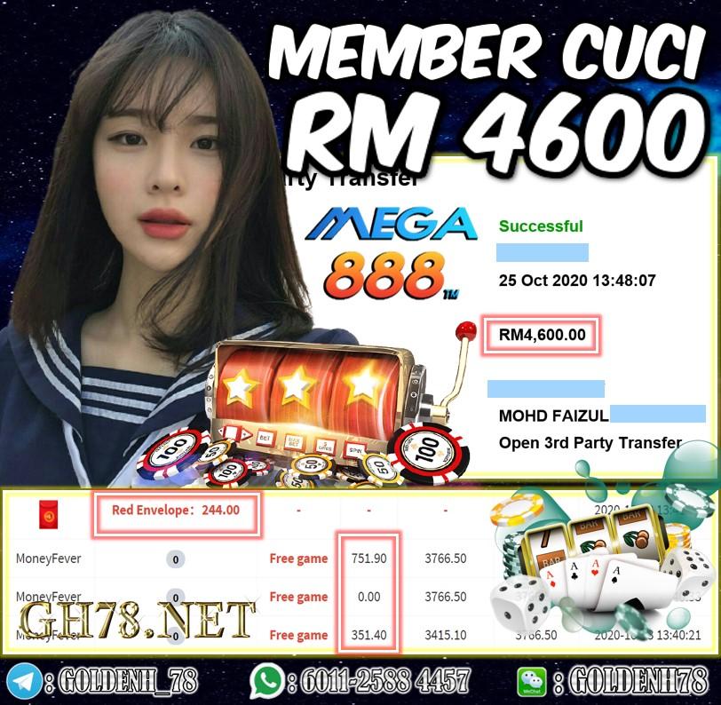 MEMBER MAIN MEGA888 FT. MONEY FEVER CUCI RM4600