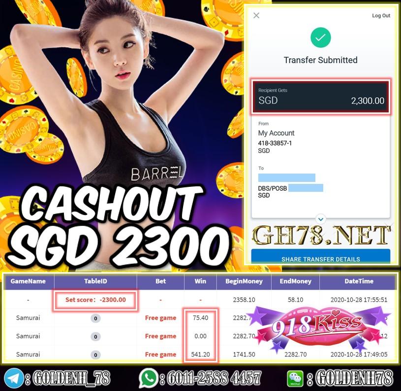 918KISS MEMBER PLAY GAME SAMURAI CASHOUT SGD2300