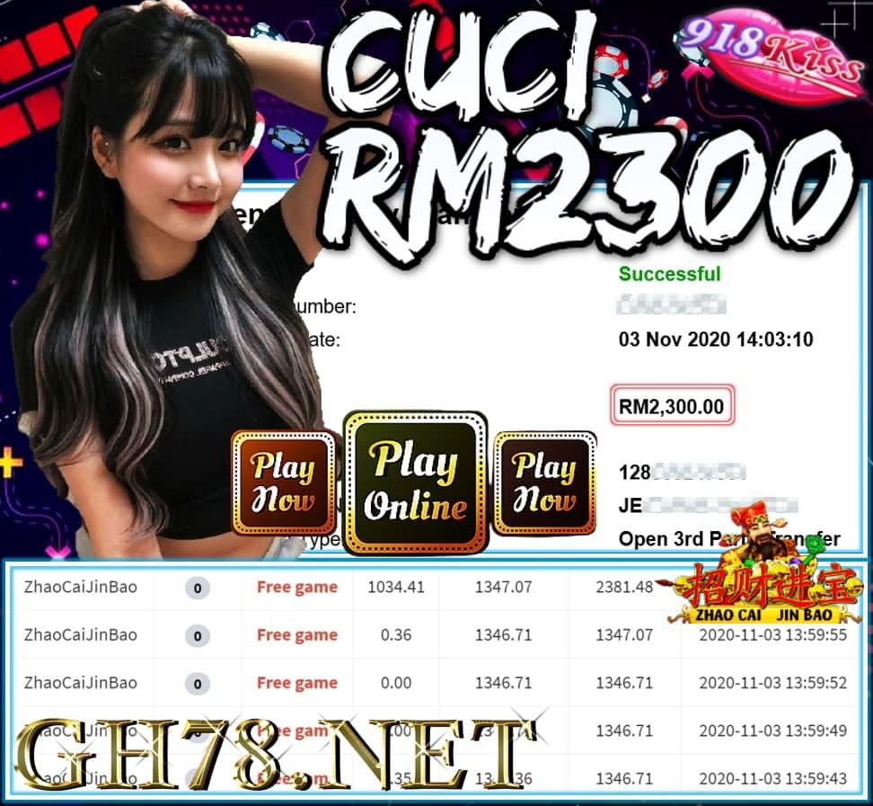MEMBER MAIN 918KISS CUCI RM2300 !!!