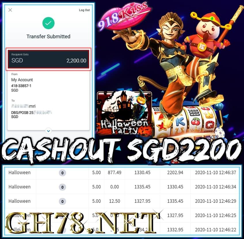 MEMBER PLAY 918KISS CASHOUT SGD2200