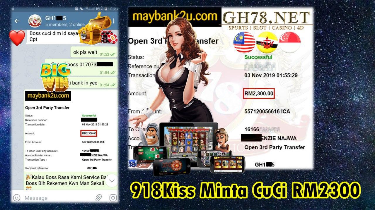 918KISS MINTA CUCI RM2300!!!