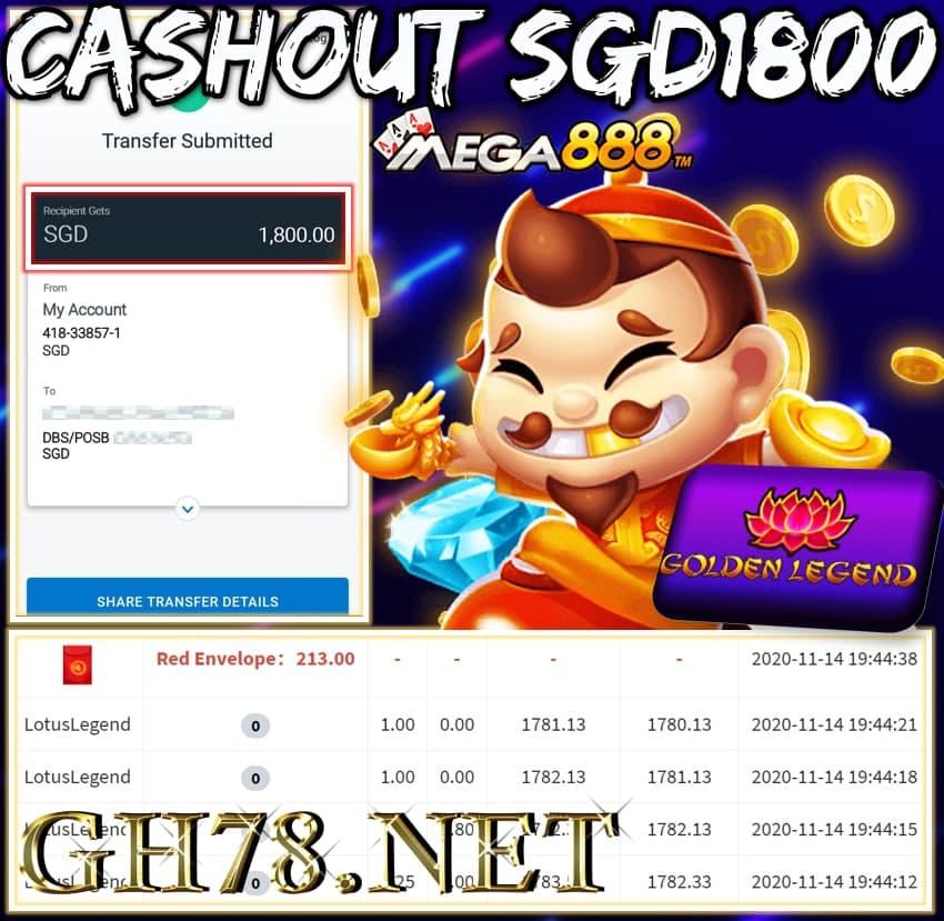 MEMBER PLAY MEGA888 CASHOUT SGD1800