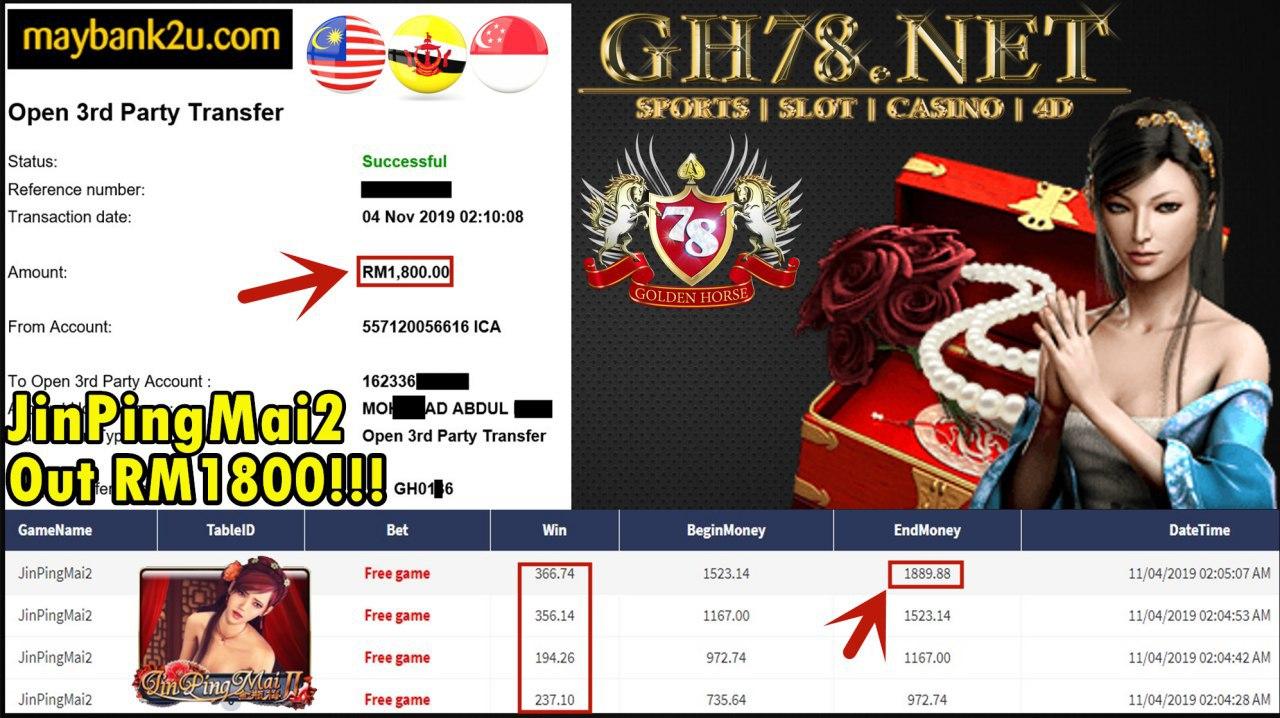 XE88 JINPINGMAI2 CASH OUT RM1800!!!