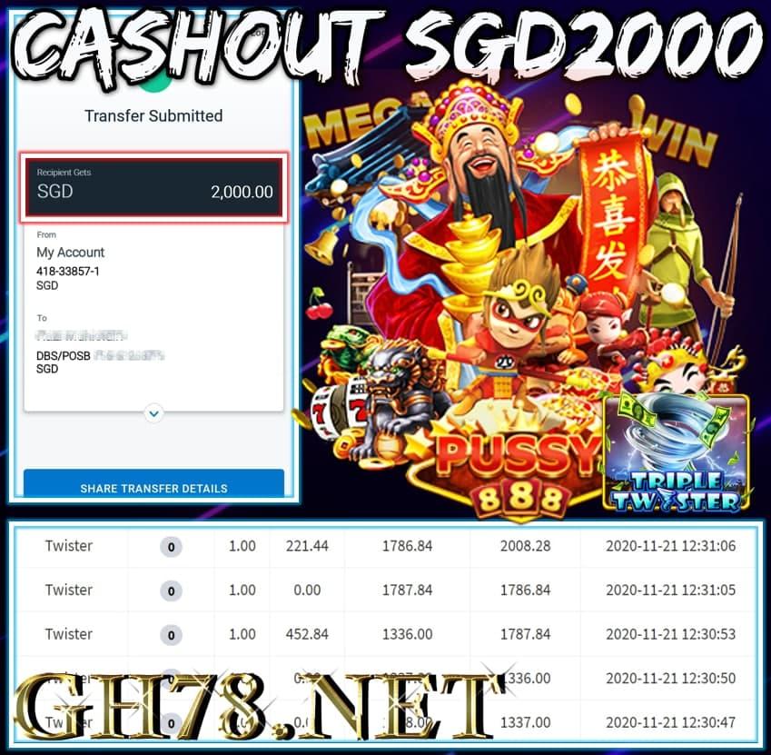 MEMBER PLAY PUSSY888 C ASHOUT SGD2000 !!!