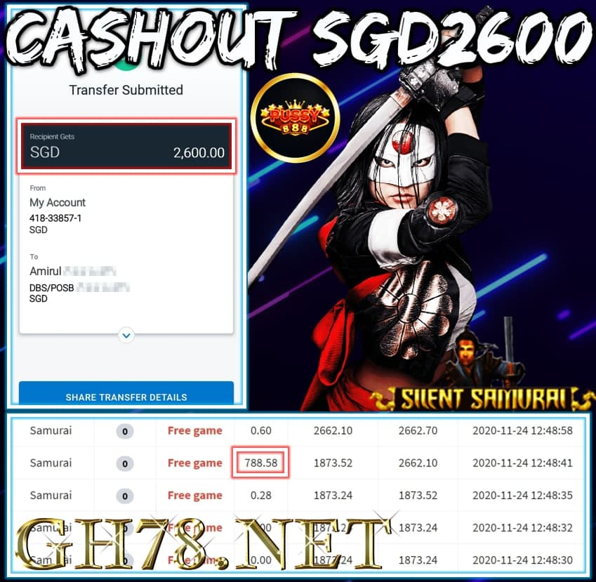 MEMBER PLAY PUSSY888 CASHOUT SGD2600 !!!