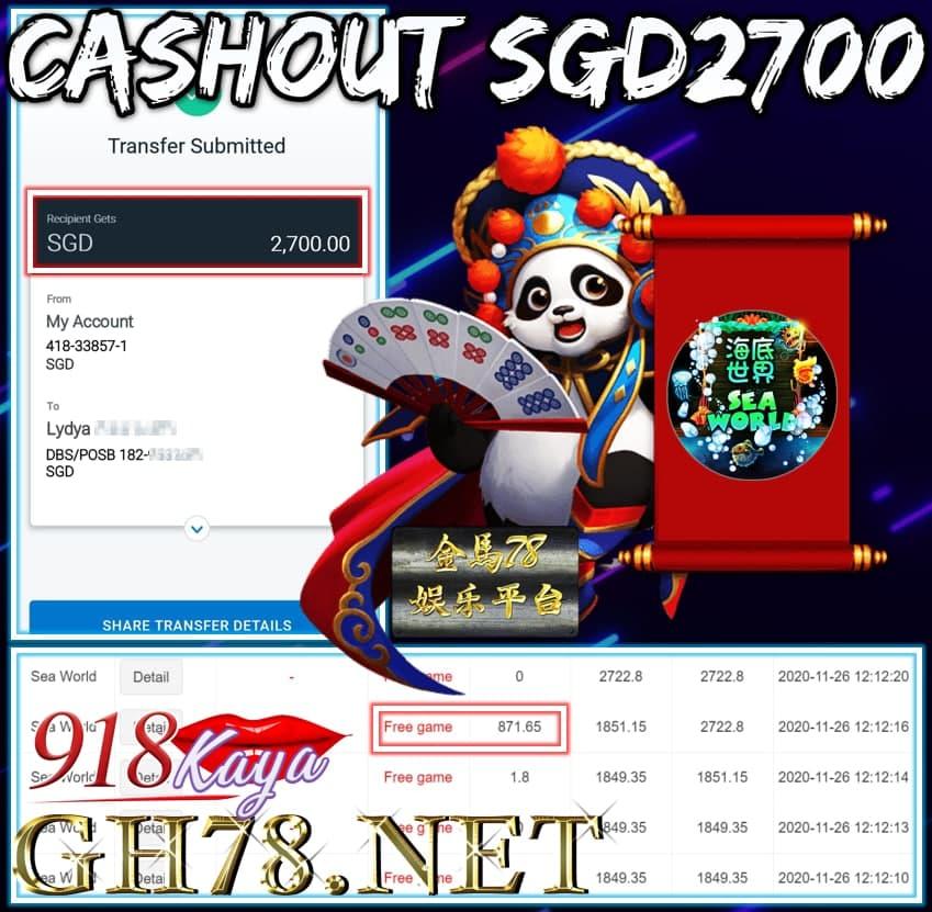 MEMBER PLAY 918KAYA CASHOUT SGD2700!!