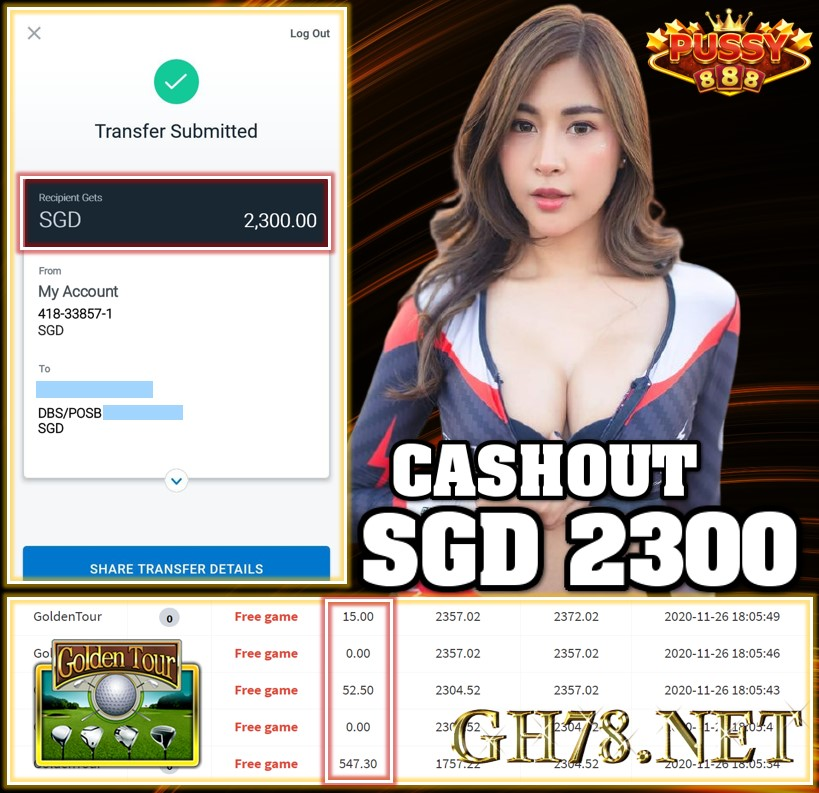 MEMBER PLAY PUSSY888 CASHOUT SGD2300 !!!