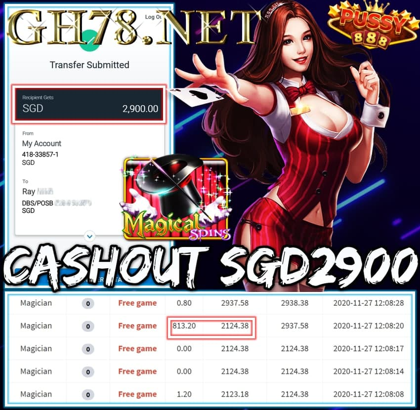 MEMBER PLAY PUSSY888 CASHOUT SGD2900 !!!