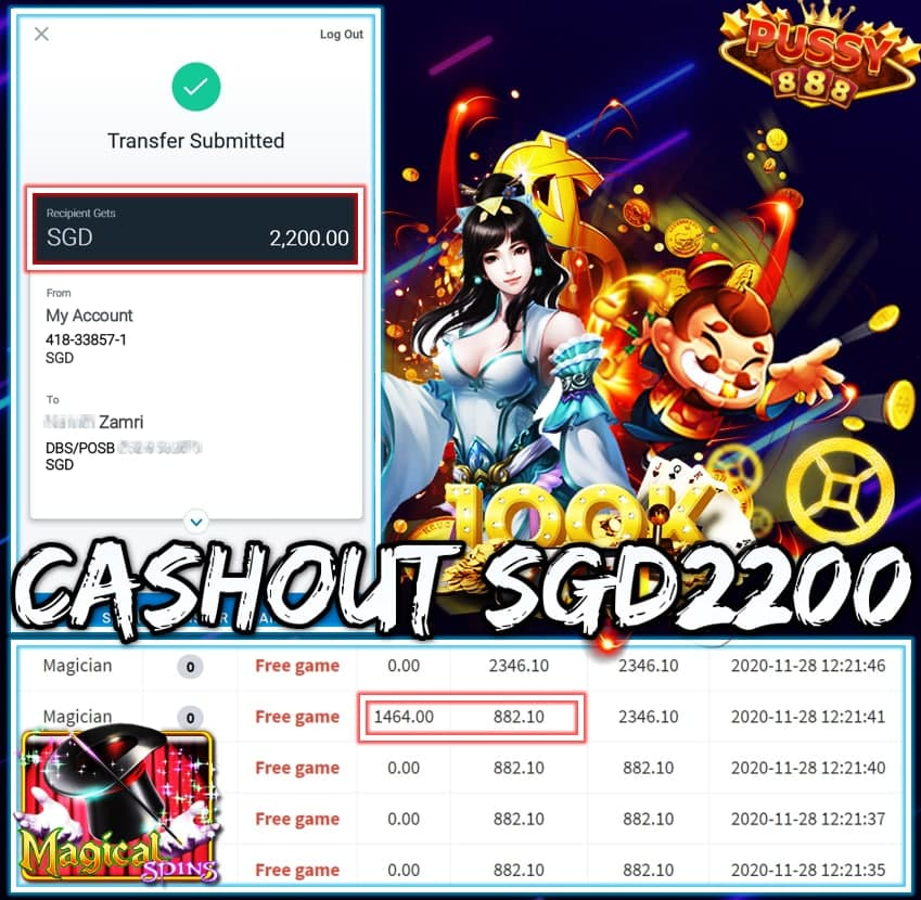MEMBER PLAY PUSSY888 CASHOUT SGD2200!!!