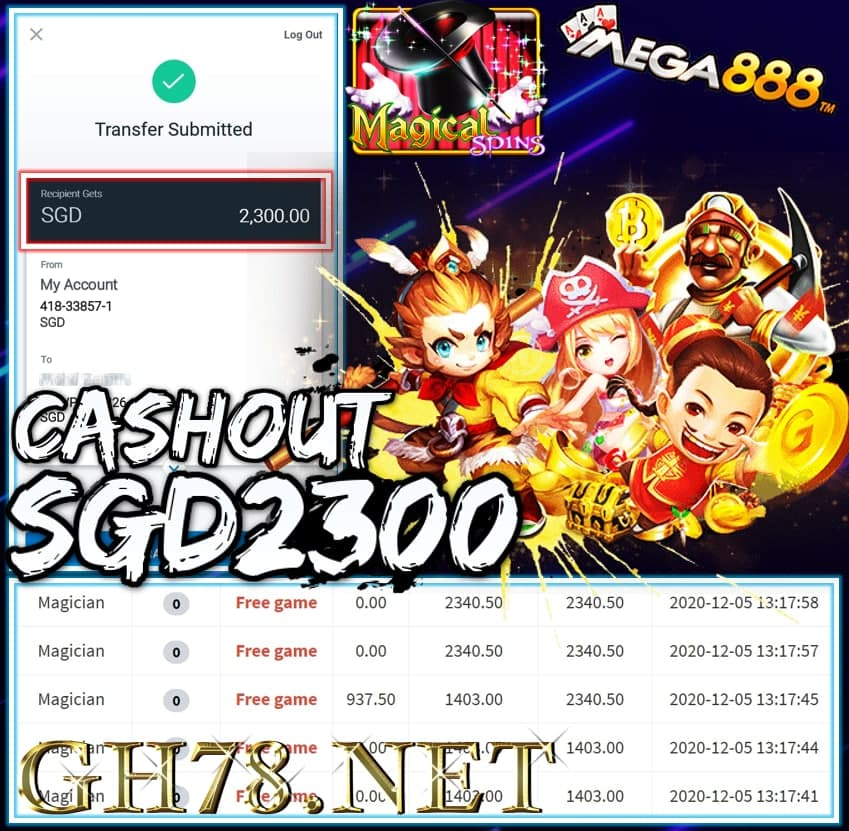 MEMBER PLAY MEGA888 CASHOUT SGD2300 !!!