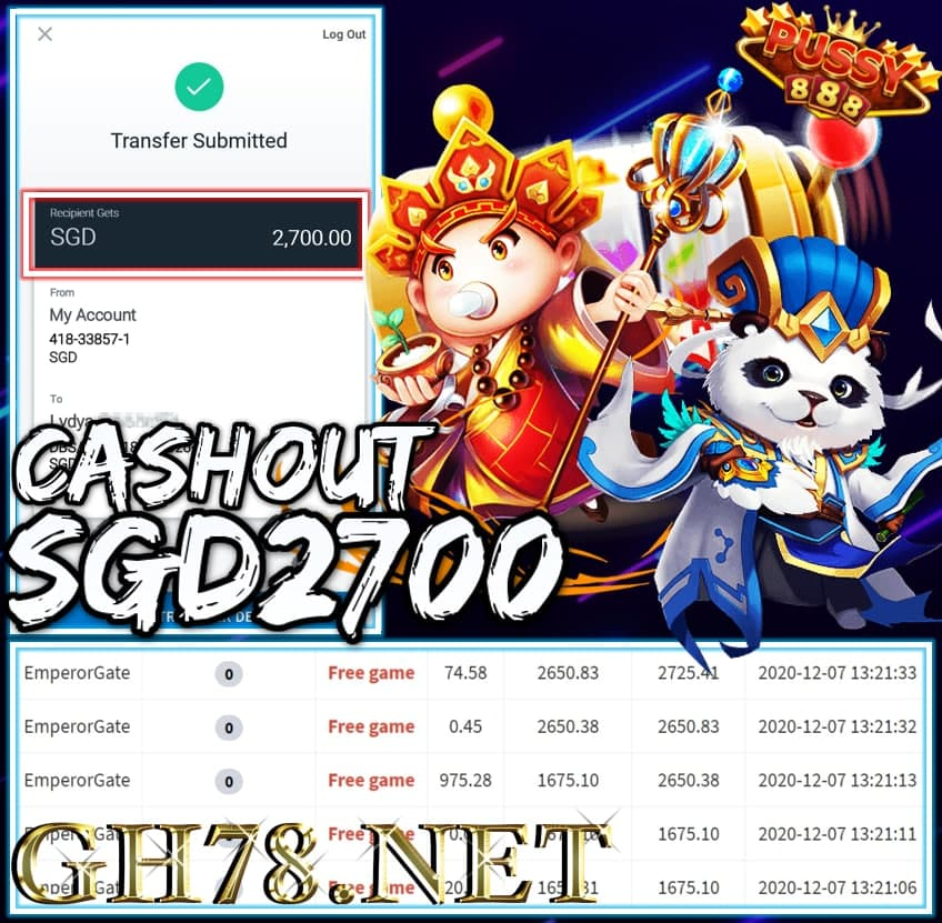 MEMBER PLAY PUSSY888 CASHOUT SGD2700 !!!