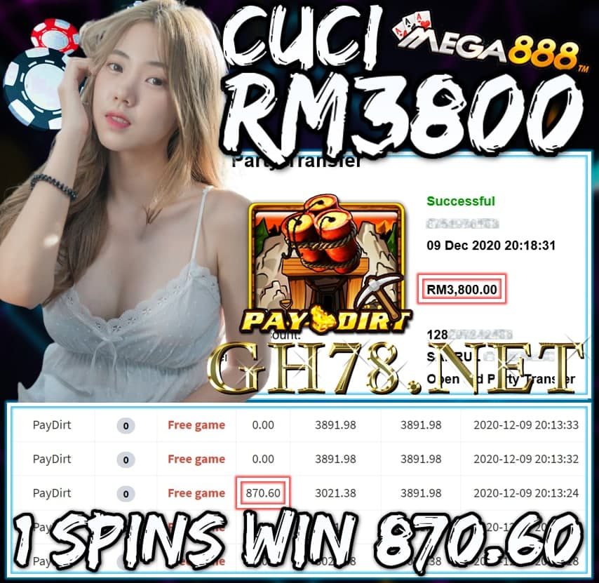 MEMBER MAIN MEGA888 CUCI RM3800 !!!
