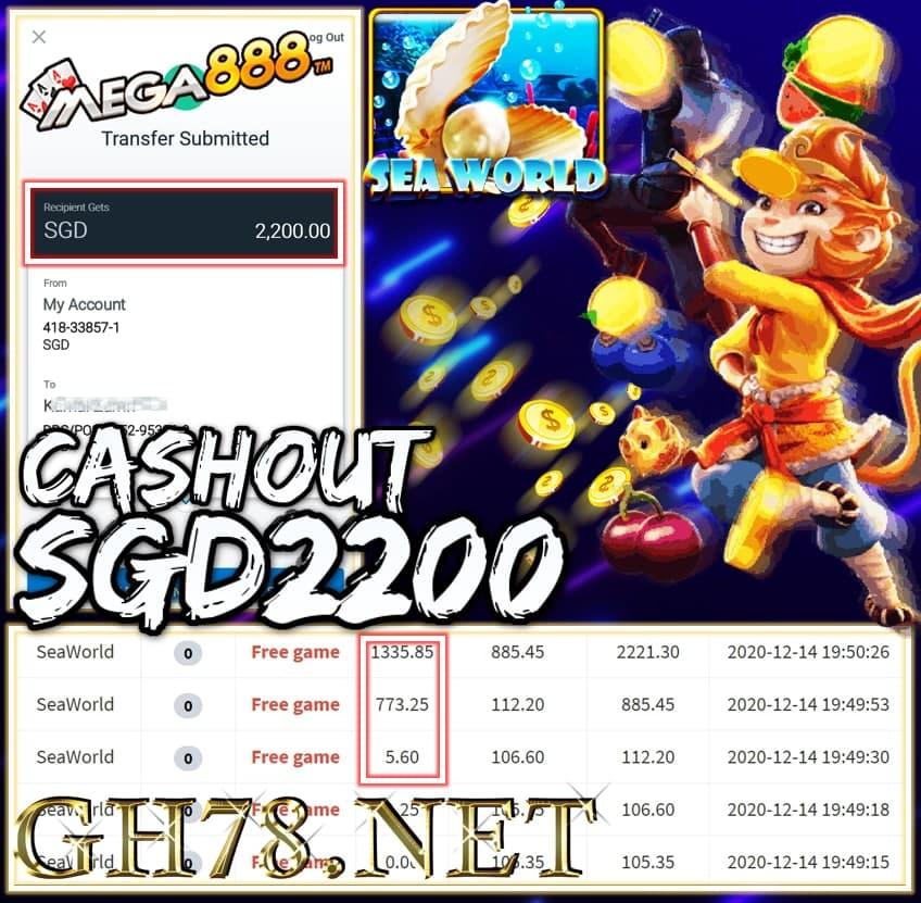 MEMBER PLAY MEGA888 CASHOUT SGD2200 !!!