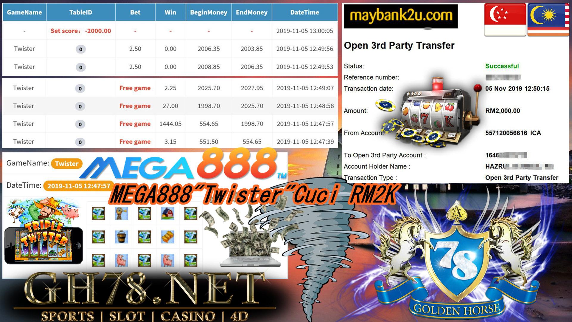 MEGA888 CUSTOMER MAIN TWISTER MINTA CUCI RM2000!!
