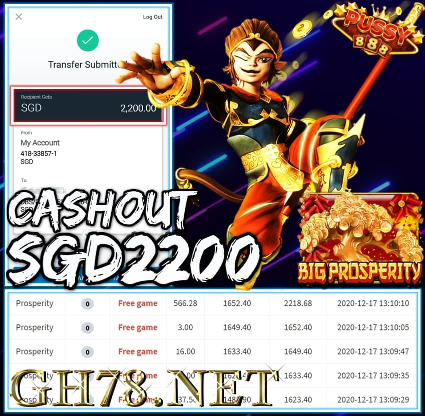 MEMBER PLAY PUSSY888 CASHOUT SGD2200 !!!