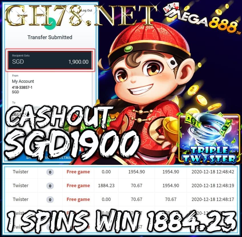 MEMBER PLAY MEGA888 CASHOUT SGD1900 !!!