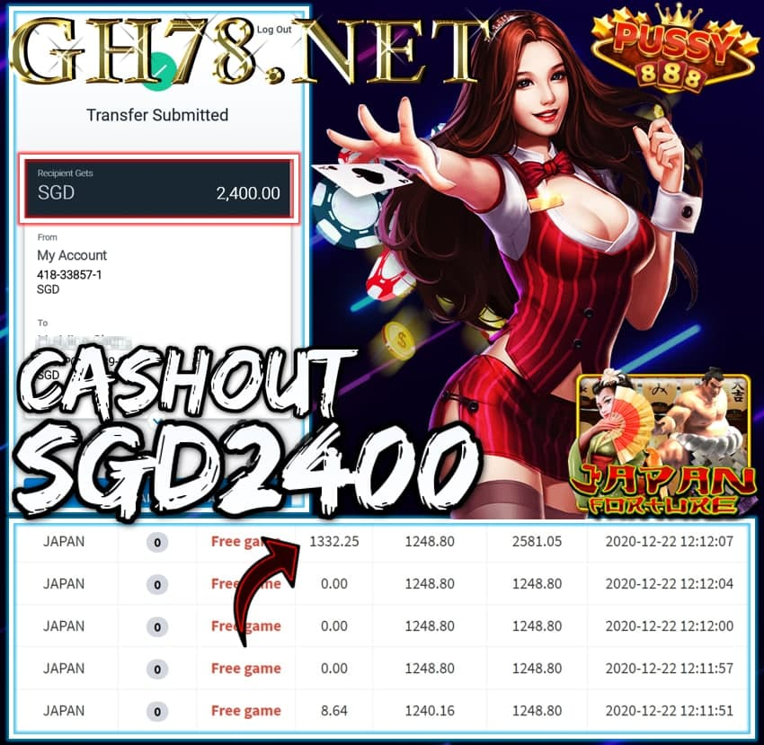 MEMBER PLAY PUSSY888 CASHOUT SGD2400 !!!
