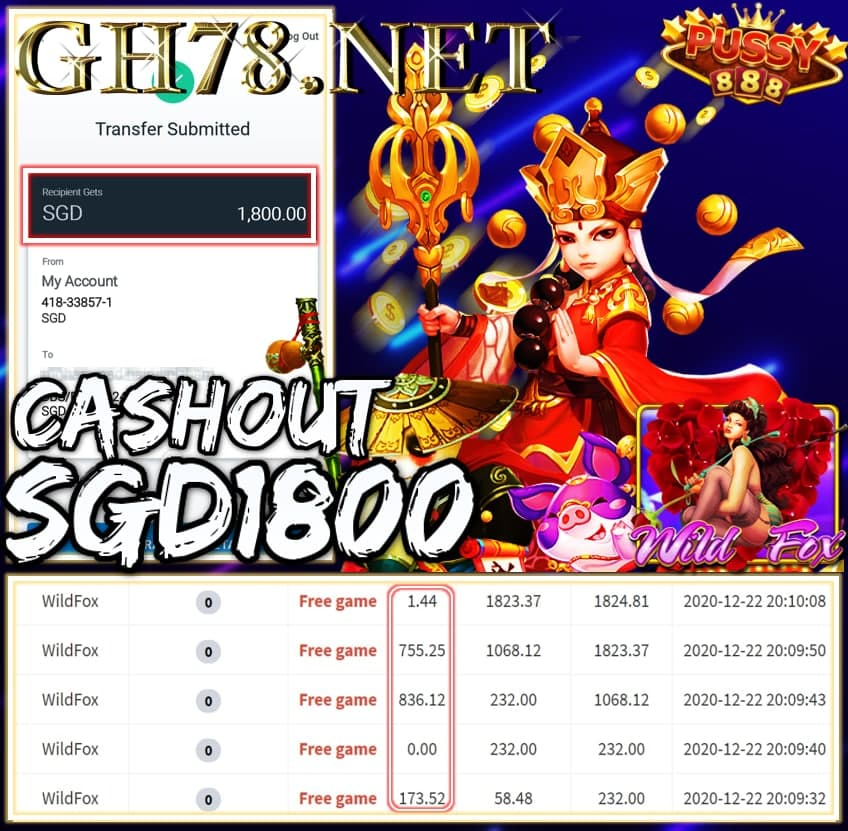 MEMBER PLAY PUSSY888 CASHOUT SGD1800 !!!
