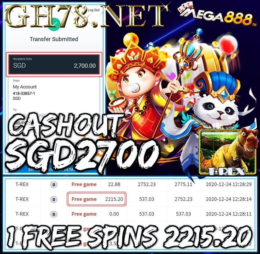 MEMBER PLAY MEGA888 CASHOUT SGD2700 !!!