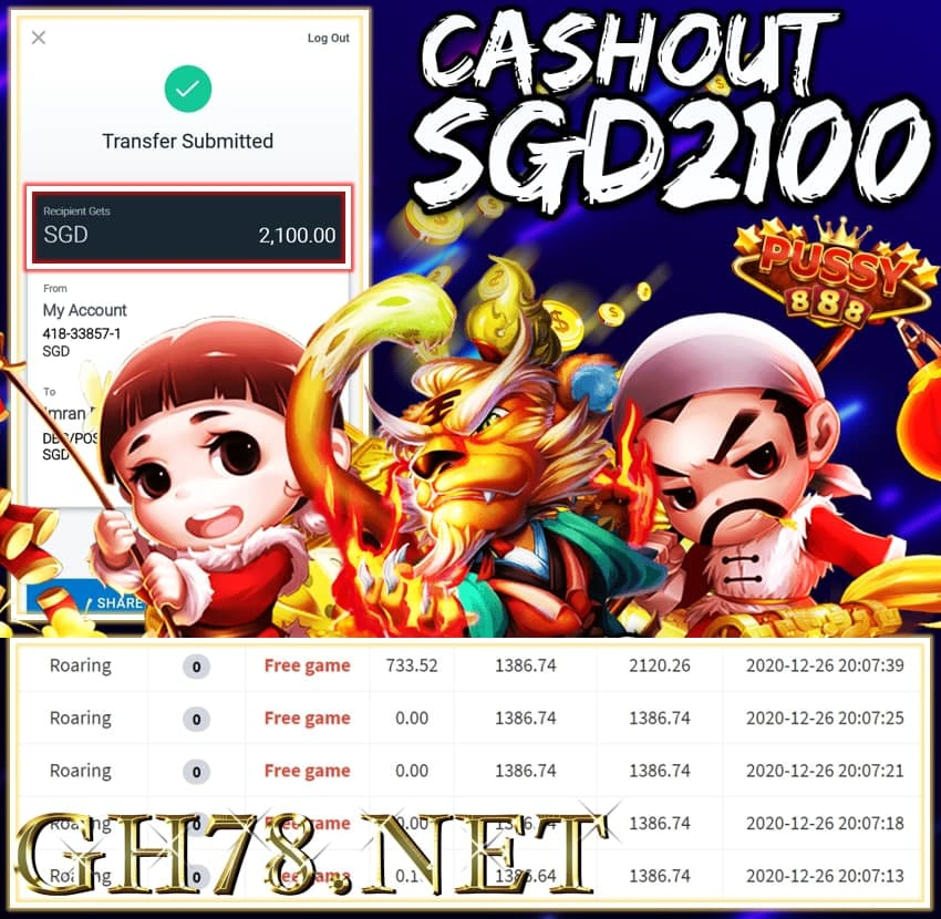 MEMBER PLAY PUSSY888 CASHOUT SGD2100 !!!