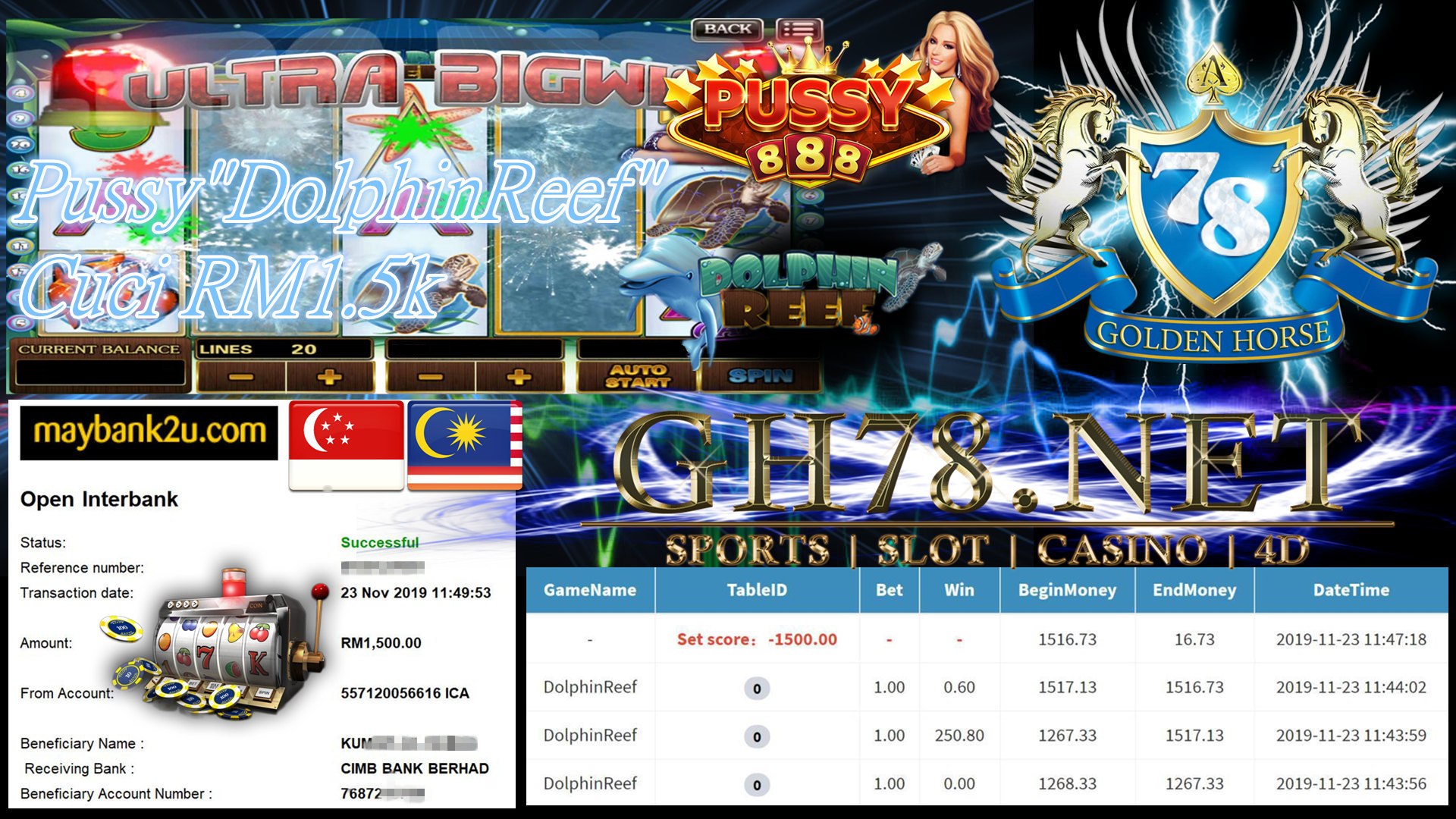 PUSSY888 MAIN DOLPHIN REEF CUCI RM1500 !!