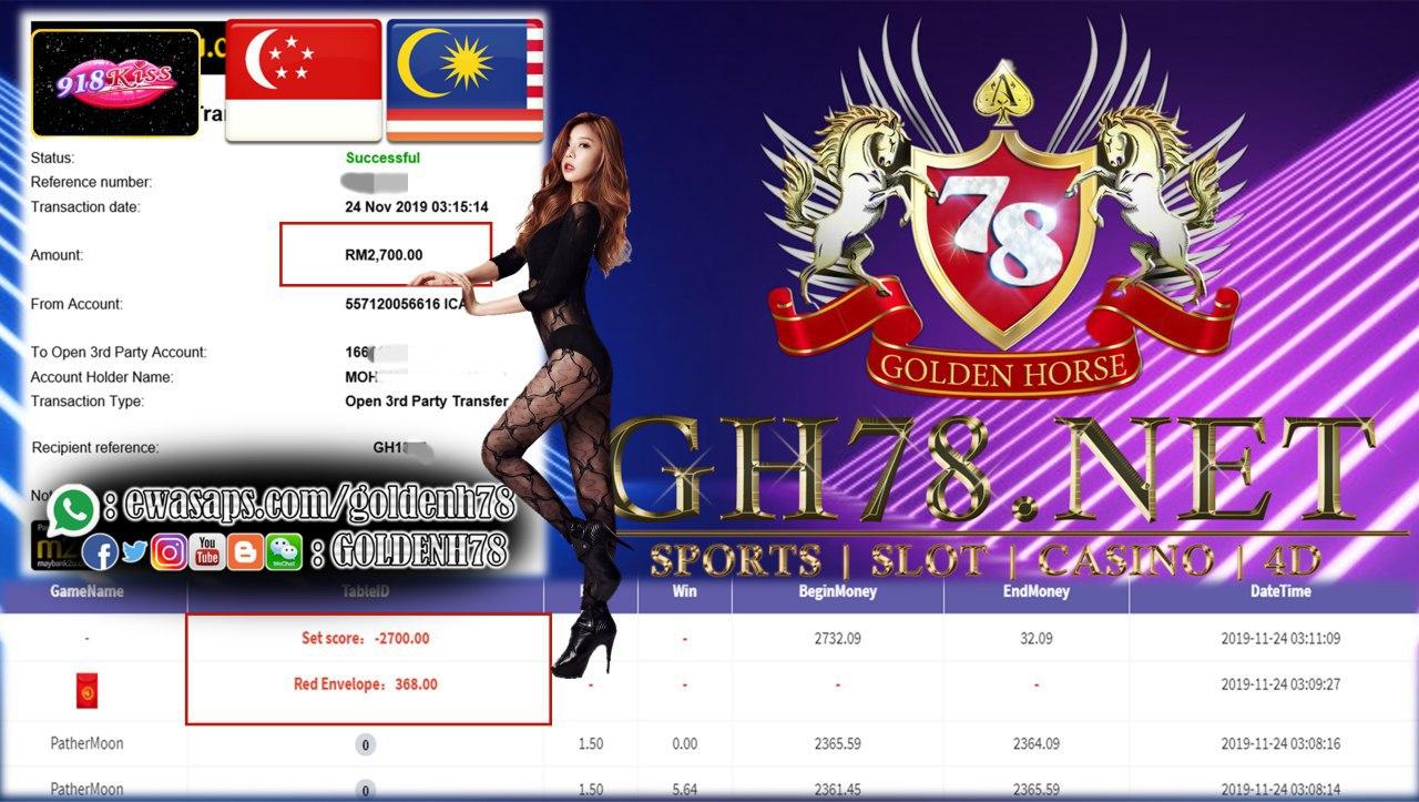 MALAYSIA / SINGAPORE 918KISS CUCI $2700 !!