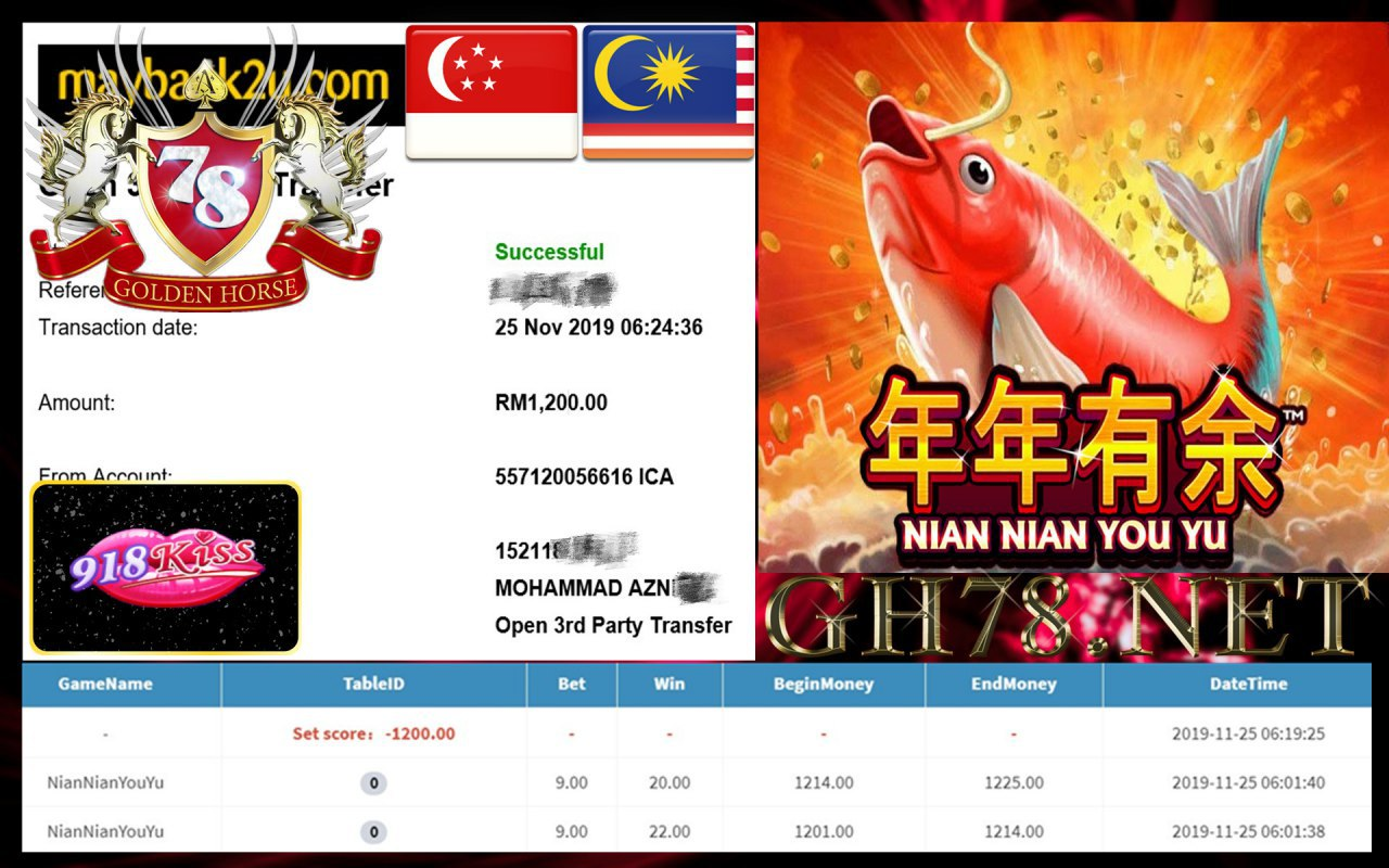 MEMBER MAIN 918KISS FT.NIAN NIAN YOU YU CASHOUT RM1200 !!