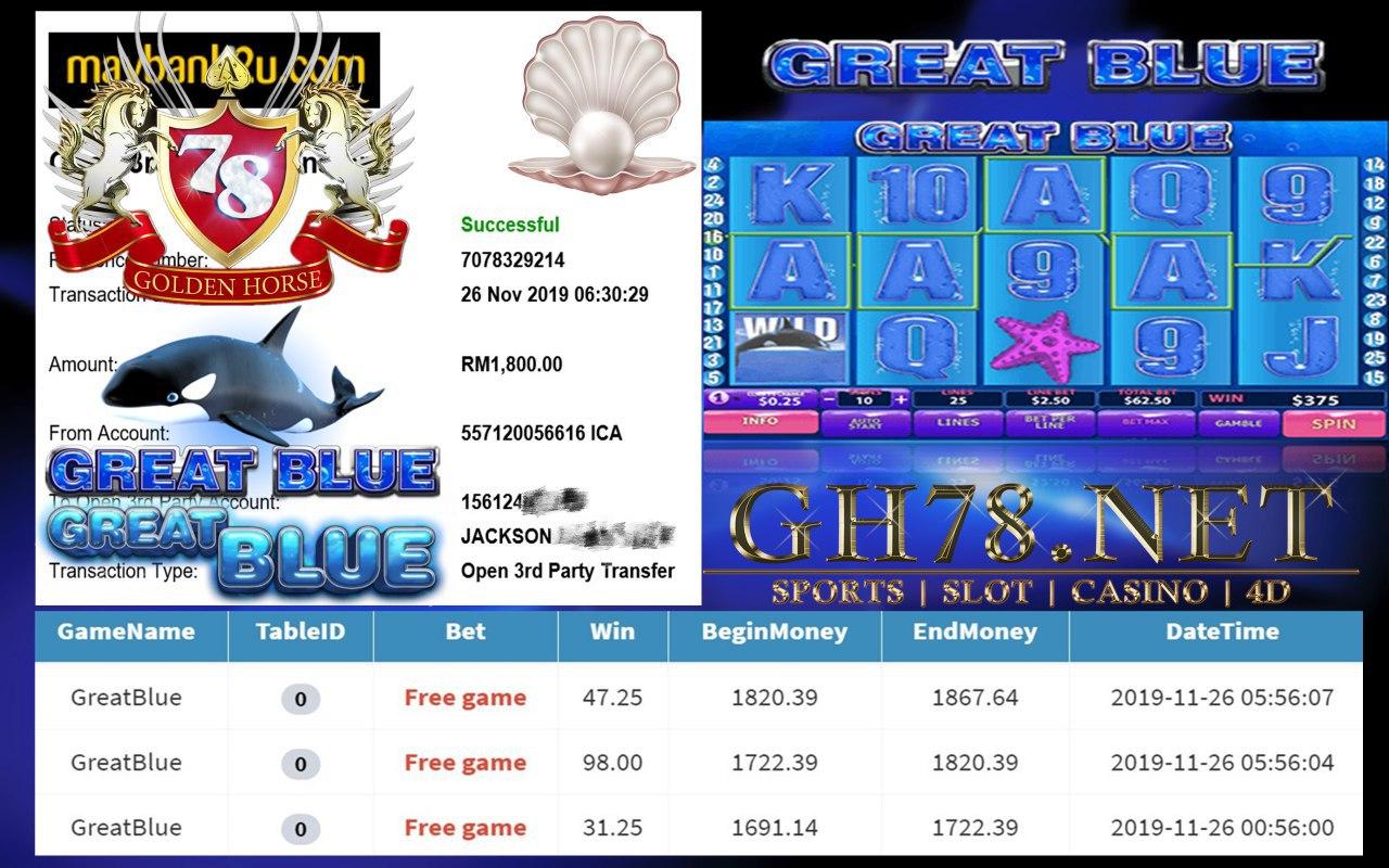 PUSSY888 GREATBLUE LAGI FREE GAME !! CASHOUT RM1800 !!