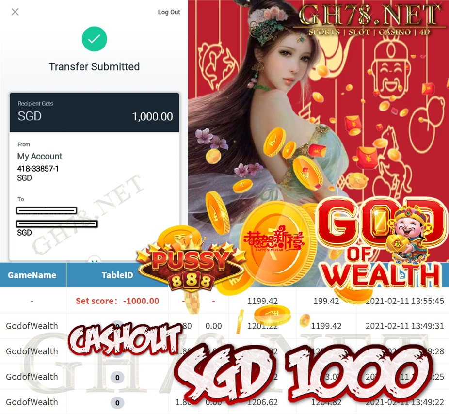 PUSSY888 GOD OF WEALTH GAME CASHOUT $S1000