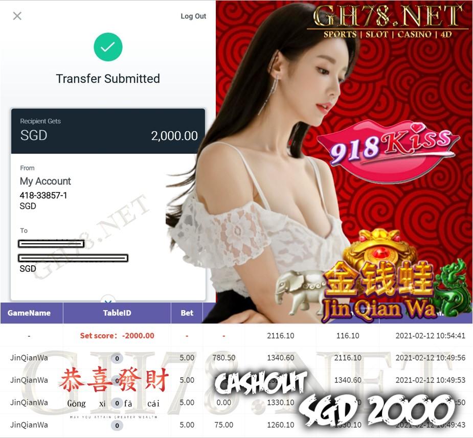 918KISS JINQIANWA GAME CASHOUT $S2000